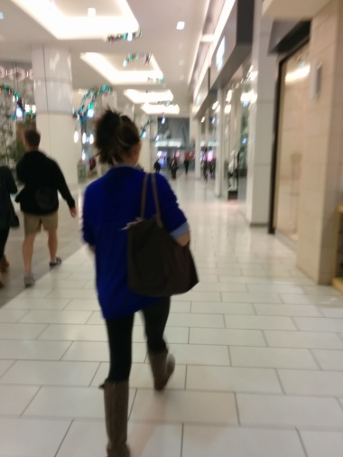 Frantically running around the mall!