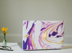 Marble - purple, yellow, white
