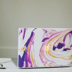 Marble - purple, yellow, white