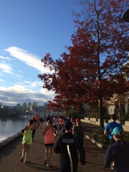 Beautiful weather as we ran beside False Creek.